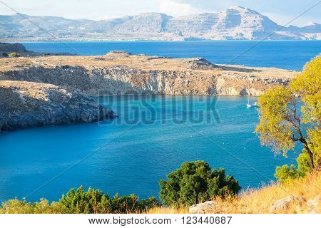 View of Saint Pauls Bay from the Acropolis. Lindos, Rhodes, Greece