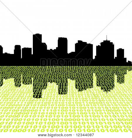 New Orleans skyline with binary perspective foreground