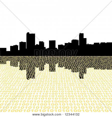 Denver skyline with binary perspective foreground