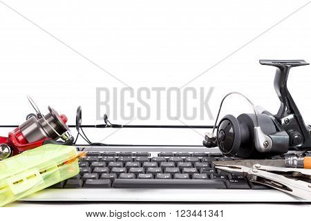 Fishing Tackles On Computer Keyboard