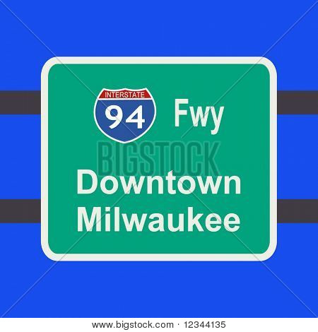 freeway to downtown Milwaukee sign illustration