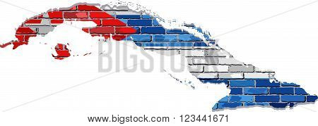 Cuba map on a brick wall - Illustration,  