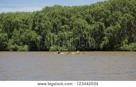Buenos Aires Argentina - 29th October 2015: Kayaks seen during a boat trip in the River Plate delta.