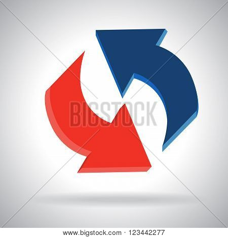 Circle arrow, refresh reload rotation.  Simple color web icon on white background. Vector illustration design elements
