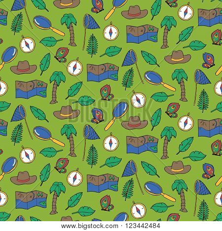 Seamless Pattern With Exploring Elements