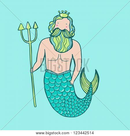 Triton In A Crown With A Trident.