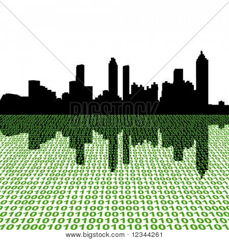 Atlanta skyline with binary perspective foreground