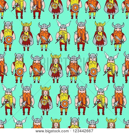 Seamless Pattern With Grumpy Dangerous Vikings