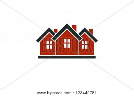 Abstract Simple Country Houses Vector Illustration, Homes Image. Touristic And Real Estate Idea,  Th