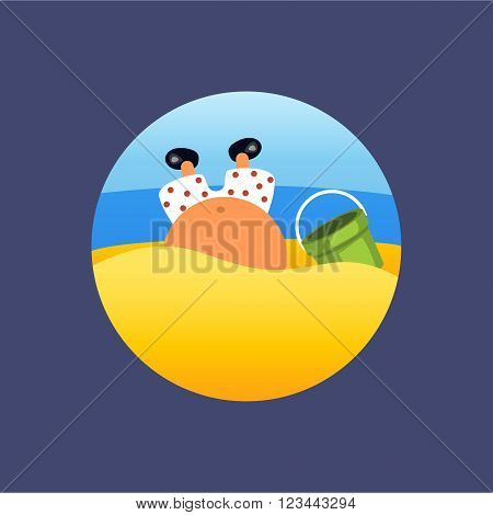 illustration of man digginr a hole at beach