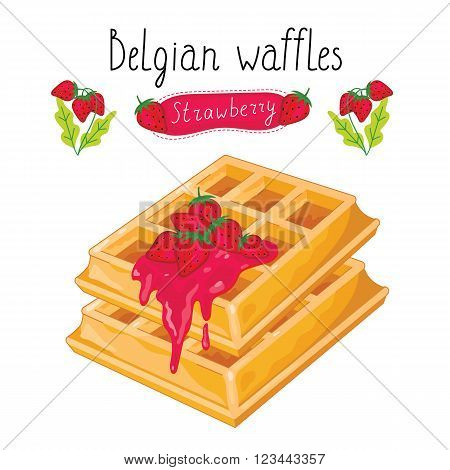 Belgian waffles with strawberry jam on white background, vector illustration.