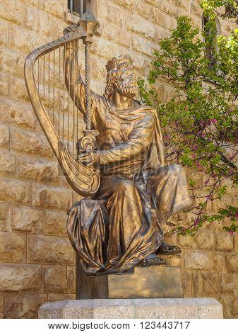 JERUSALEM ISRAEL - JANUARY 14: Monument of King David with the harp in Jerusalem Israel on January 14 2016