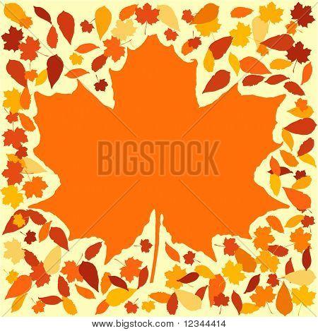 autumn frame with colourful leaves surrounding large leaf illustration JPEG