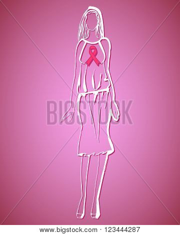 Breast cancer awareness pink ribbon on women isolated on white background. Vector illustration EPS10