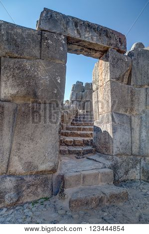 Stone Gate At Saksaywaman, Saqsaywaman, Sasawaman, Saksawaman, Sacsahuayman, Sasaywaman Or Saksaq Wa