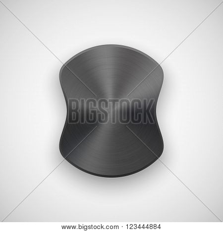 Black abstract geometric shape, ellipse, oval badge, blank button template with metal texture, chrome, silver, steel and realistic shadow for logo, design concepts, banners, web. Vector illustration.