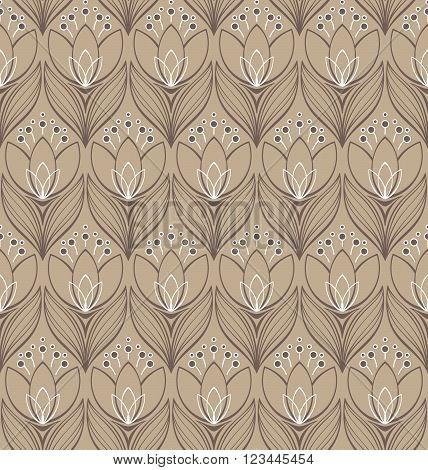 Vector illustration. Elegant decorative seamless floral pattern