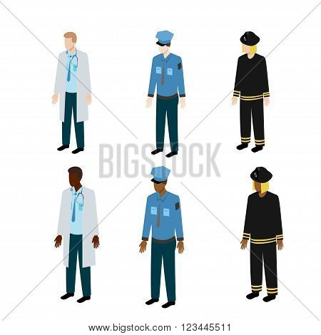 Medical, police and fire uniform for different people. Isolated