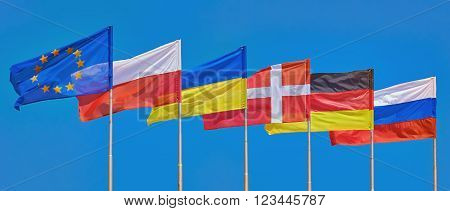 Flags of Different Countries on a Background of Blue Sky