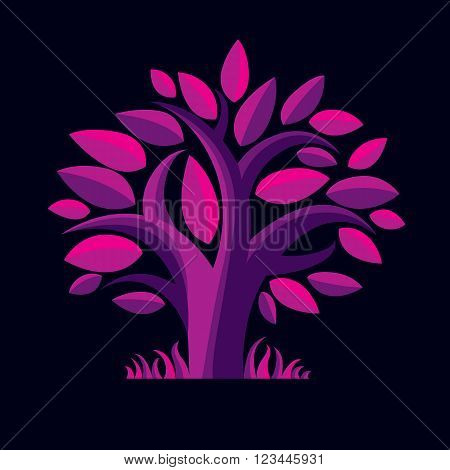 Vector Illustration Of Stylized Purple Branchy Tree. Ecology Conservation Theme Image.