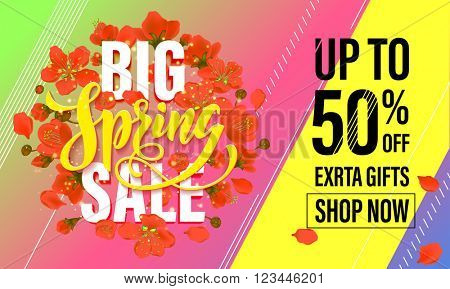 Spring sale banner with flower blossom. Vector poster illustration with hand drawn lettering design.