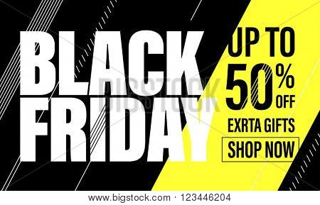 Black Friday Sale Banner.  Black Friday poster. Vector illustration