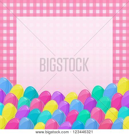 Easter Eggs Frame Cartoon Style Napkin Colorful 2