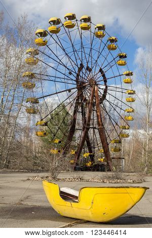 Abandoned amusement park in the Pripyat city