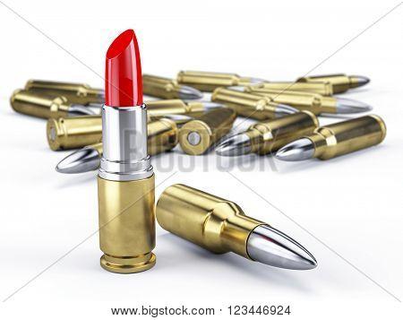 Bullet Lipstick - Killing Beauty Concept.3D rendering