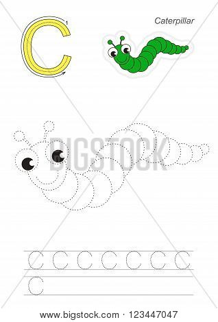 Vector exercise illustrated alphabet. Learn handwriting. Page to be traced. Complete english alphabet. Tracing worksheet for letter C