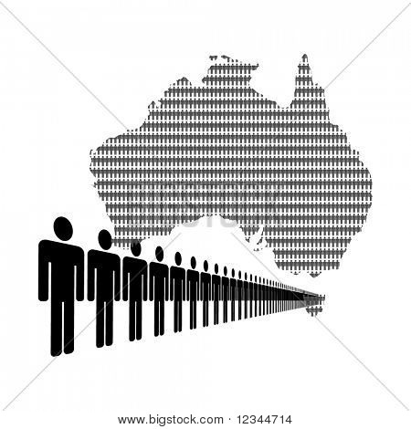 Map of Australia made of people with line of men