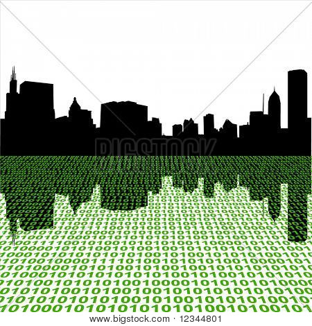 Chicago Skyline reflected with binary text illustration