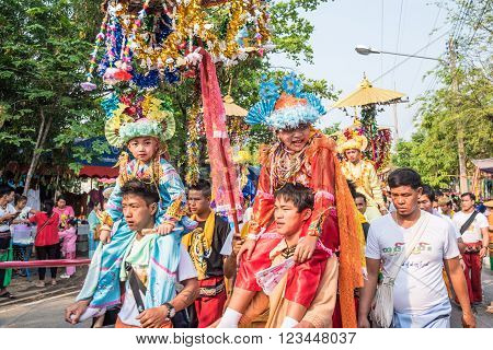 CHIANG MAI THAILAND - MARCH 27 : Poy Sang Long festival A Ceremony of boys to become novice monk parade around township to Ku Tao temple on March 27 2016 in Chiang mai Thailand.