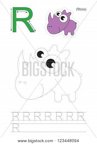 Vector exercise illustrated alphabet. Learn handwriting. Page to be traced. Complete english alphabet. Tracing worksheet for letter R