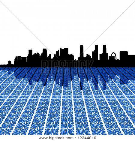 Singapur Skyline mit perspektivischen Vorder-Text Zeichnung