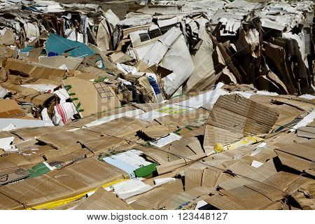 Recycle cardboard paper waste bailed for industry waste management