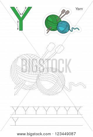Vector exercise illustrated alphabet. Learn handwriting. Page to be traced. Complete english alphabet. Tracing worksheet for letter Y