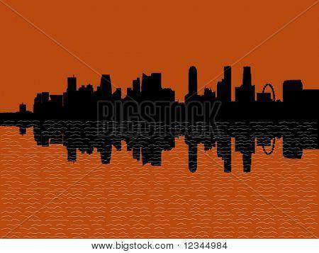 Singapore Skyline reflected at sunset illustration