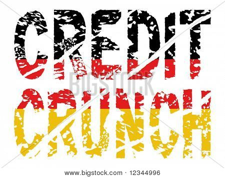 grunge Credit crunch text with German flag illustration JPEG