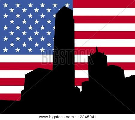 Dallas Skyline with American flag illustration