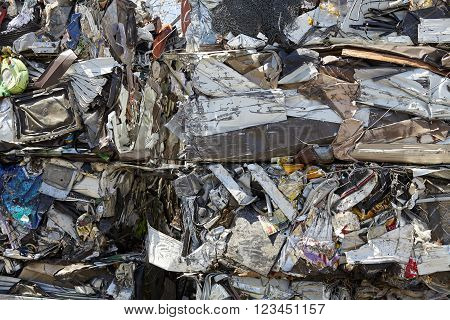 Scrap Metal Waste Compacted for Recycling industrial garbage