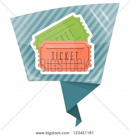 Colorful vector illustration of cinema or theater retro ticket