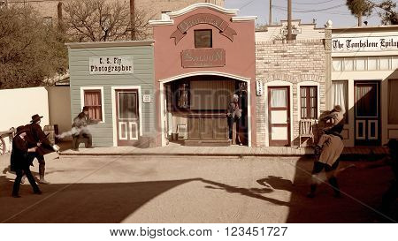 TOMBSTONE, ARIZONA - MARCH 20: Gunfighters reenact the shootout at the OK Corral in Tombstone, Arizona on March 20th, 2016.