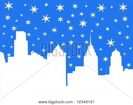 Philadelphia skyline in winter with falling snow