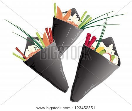 an illustration of a variety of sushi cones with wild rice salmon vegetables and chives on a white background