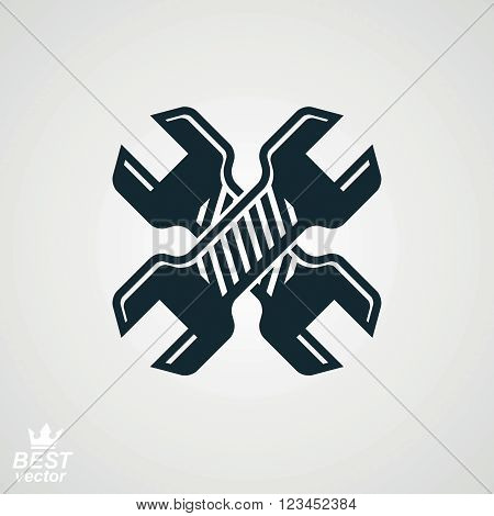 Two spanners crossed vector illustration. Engineering design element, manufacturing tools. Repair theme icon.