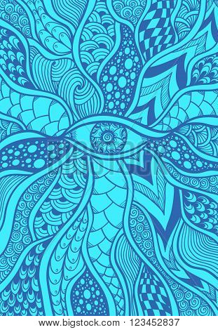 Zen-doodle or Zen-tangle texture or pattern with eye  in blue for wallpaper or for decorate package clothes or different things