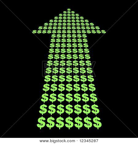 Dollars symbol arrow pointing upwards illustration JPEG