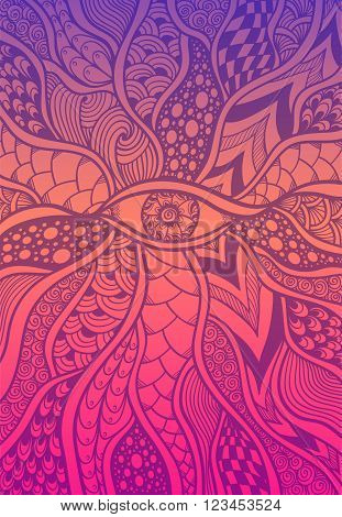 Zen-doodle or Zen-tangle texture or pattern with eye  in lilac orange pink for wallpaper or for decorate package clothes or different things