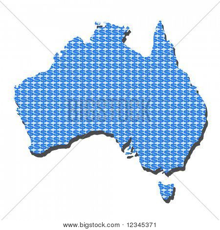 Australia map with dollar symbols illustration JPEG
